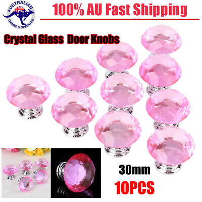 10PCS 30mm Small Crystal Glass Diamond Door Knobs For Drawer Cabinet Kitchen AU