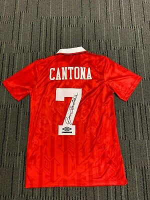 Eric Cantona Manchester United Hand Signed Football Soccer Jersey Ronaldo Messi
