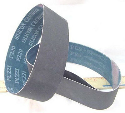 """BUTW (3) 220 grit  x 6 x 1.5  Carbide lapidary grinding belt for 6"""" drum"""