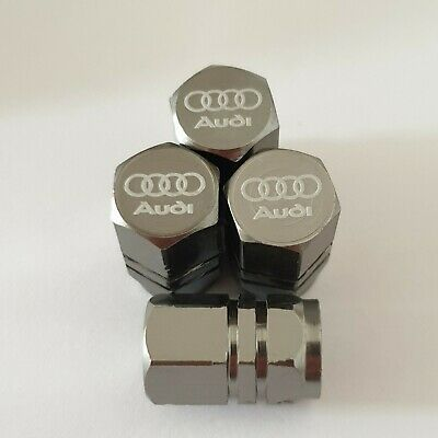 AUDI Laser Wheel Valve Dust caps all models GREY S LINE RS S5 S3 RS3 RS4 RS5 RS6