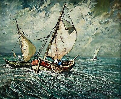 Joseph Hurard (1887-1956) Huge Signed French Impressionist Oil Boats Off Coast