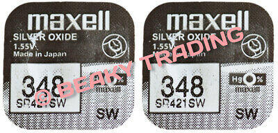 VALUE PACK! 2 x Genuine Maxell 348 SR421SW Silver Oxide Watch Battery 1.55v