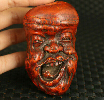 Chinese old bamboo root hand carved funny man statue figure hand piece