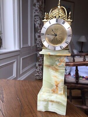 Vintage Swiza 8day Mantel / Alarm Clock Onyx Base, Schwab Watch Movement (GWO)