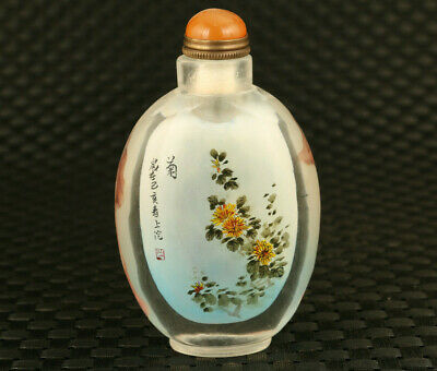 Chinese old glass hand inside painting flower statue snuff bottle collectable