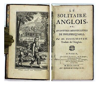 1729 Antique 18th Century Le Solitaire Anglois Philippe Quarll Robinson Crusoe