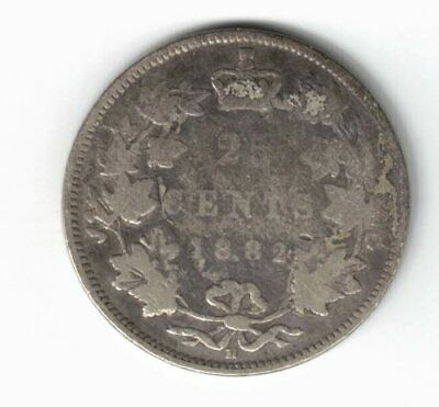Canada 1882H 25 Cents Quarter Queen Victoria Canadian Sterling Silver Coin