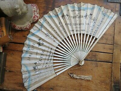 Antique Coronation of King Edward VII Hand Fan Advertising A.H. Jaques 1902