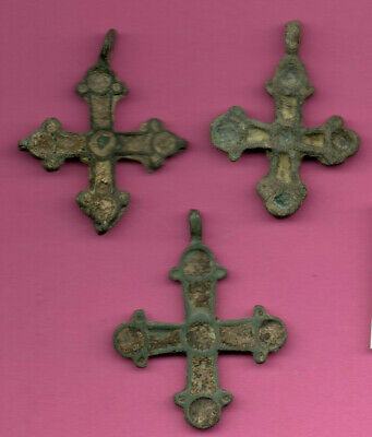 Lot of 3 Russia Enemaled Bronze Ortodox Cross 1050 11-12th Viking Byzantine 695