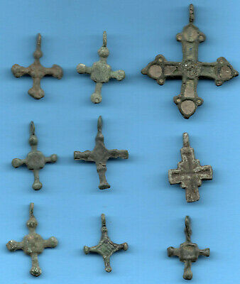 Lot of 9 Ancient Viking Enamel Bronze Cross Kiev Russia ca 1100 Byzantine 119