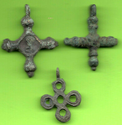 Lot 3 Ancient Viking Enamel Bronze Cross Kiev Russia Ukraine 1100 Byzantine 26