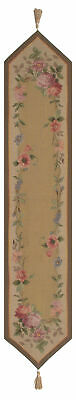 French Floral Roses European Tapestry Lined Table Runner Mat Woven Home Decor