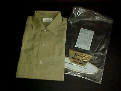 VTG. MID CENTURY 1960's MEN's SHIRT by ESSLEY,  NOS IN PACKAGE. Sz M 15 / 15 1/2