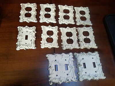 Lot of 10 Vintage Cast Metal Plug and Switch Plate Covers Ornate