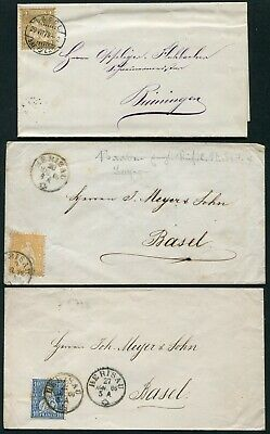 Switzerland 1865-1879 perf. stamps on five envelopes and a wrapper