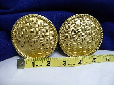 "Vtg Pr 3"" Round Drapery Curtain Tie Back Basket Weave Gold Tone Brass Spain 60's"