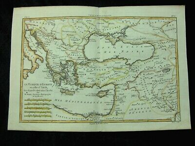 Balkan Greece Turkey Black Sea, Kupferstichkarte  copper engraved map ca. 1770