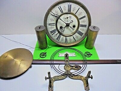 ANTIQUE VICTORIAN DOUBLE WEIGHT s VIENNA WALL CLOCK PENDULUM MVT. REPAIRS SPARES