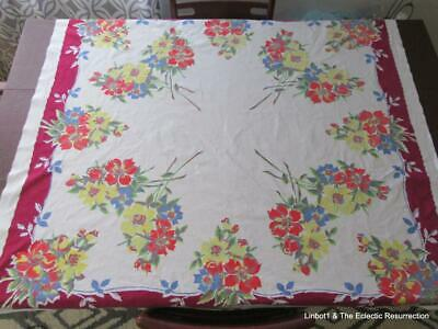 "1950s Printed Cotton Tablecloth Bright Flowers 50"" square Wilendur?"