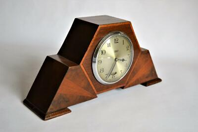 VERY STYLISH ART DECO 1930s SMITHS GEOMETRIC INLAID ELECTRIC MANTLE CLOCK