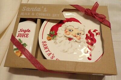 Mud Pie  MUDPIE Christmas Holiday Santa's Milk and Cookies Set ceramic