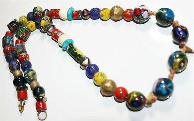 Vintage in Seattle Fabulous Mixed Art Glass Beaded Necklace Lot#435 no charm