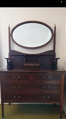 Antique Arts & Crafts Solid Oak Dressing Table Chest Of Drawers With Mirror