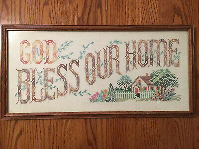 Vintage Paragon Needlecraft Completed Cross Stitch Sampler God Bless Our Home