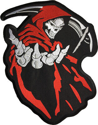 LARGE SIZE GRIM REAPER SCYTHE God Angel of Death Ghost Devil Sew Iron on Patch L