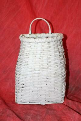 Rare Antique Hand Woven Hickory Splint Hanging Basket ~ Great Old White Paint ~