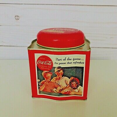 Vintage 1993 Coca Cola Small Tin container  by The Tin Box Company of America