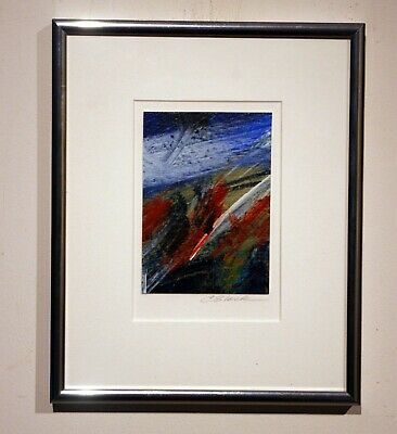 modern abstract oil painting listed artist signed connie slack framed matted