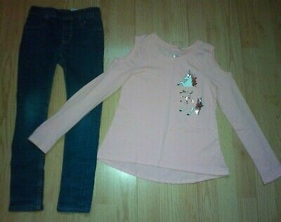 JUSTICE UNICORN and H&M 2 PIECE GIRLS OUTFIT SIZE 6-7