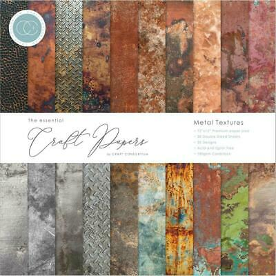 """Craft Consortium 12"""" Paper Pad Metal Textures  180gsm, 30pg Double Sided"""