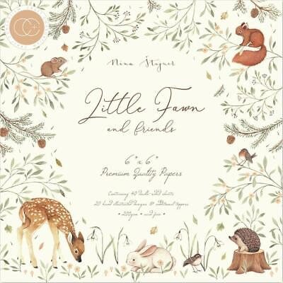 """Craft Consortium Little Fawn and Friends 6"""" Premium Paper Pad  6""""x6"""", 200gsm, 40"""