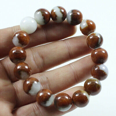Certified Grade A Natural Jadeite Brown 13mm  Beads hand chain Bracelet j1072