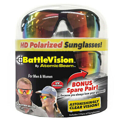 New (2 Pair) BattleVision HD Polarized Sunglasses Clear Vision As seen on Tv