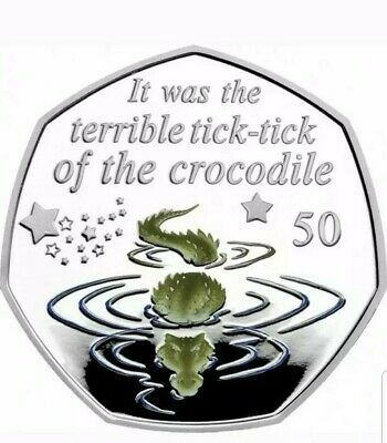 Peter Pan 50p Coin 2019 - Crocodile Uncirculated + Colour decal