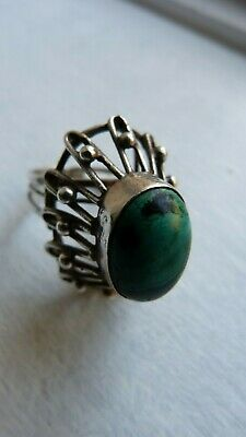 Retro Mid-Century Modernist Sterling Silver filigree Israel Eilat stone Ring M/N