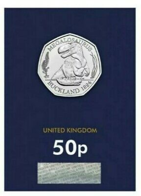 2020 Megalosaurus Dinosaur 50p Pence Coin CERTIFIED  Brilliant unCirculated
