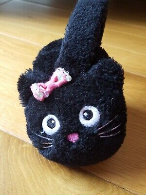 Girls Earmitts Black Furry Cat
