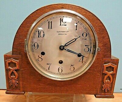 Antique Art Deco Mantel Clock by G & F Evans of Coventry - Key & Pendulum, Chime