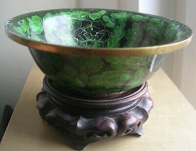 Chinese vintage antique green cloisonné bowl wood carved pierced stand