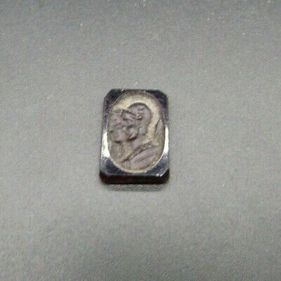 Ancient Roman purple glass ring insert (cameo) of a centurion