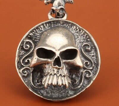 Big 925 Silver Solid Silver Real Silver Pendant Statue Skull Exorcism Gift