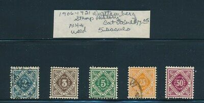 Own Part Of Wurttemberg Stamp History 5 Issues Cat Value $17.05