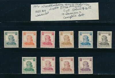 Own Part Of Wurttemberg Stamp History 10 Issues Cat Value $16.10