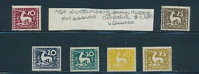 Own Part Of Wurttemberg Stamp History 6 Issues Cat Value $11.50