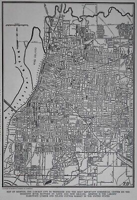 Vintage 1942 World War WWII Era OLD Atlas City Map of Memphis, Tennessee TN Tenn