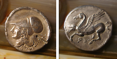 Greece Corinth stater coin (300 BC) Pegasus and Athena 7.35 gr.21mm.Silver